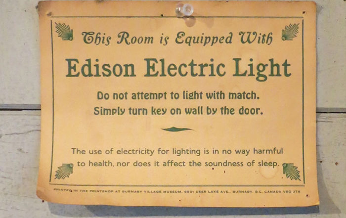 """Cartel """"This Room is Equipped With Edison Electric Light"""""""