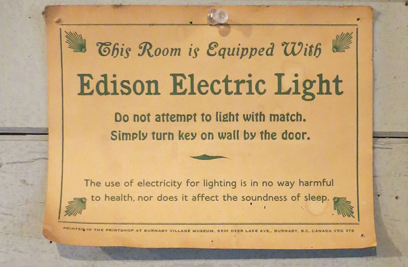 "Cartel ""This Room is Equipped With Edison Electric Light"""