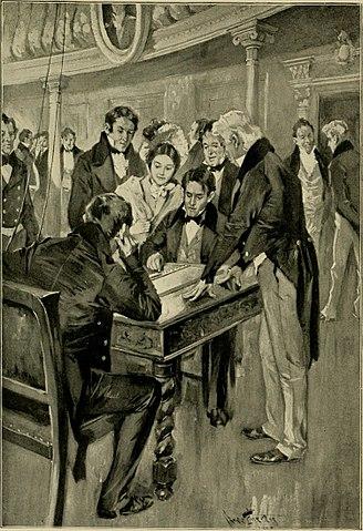 El profesor Morse enviando el primer mensaje telegráfico